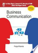 Business Communication For University Of Delhi B Com Hons Sem 6  Book PDF