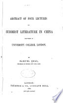 Abstract of Four Lectures on Buddhist Literature in China