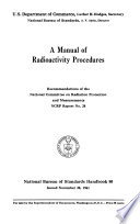 A Manual of Radioactivity Procedures  Recommendations Book