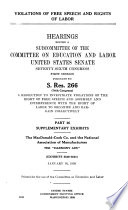 Violations Of Free Speech And Rights Of Labor Supplementary Exhibits