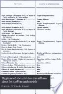Hygiène et sécurité des travailleurs dans les ateliers industriels : législation française et étrangère