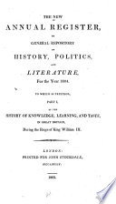 The New Annual Register, Or General Repository of History, Politics, and Literature