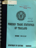 Foreign Trade Statistics of Thailand