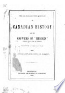 The One Hundred Prize Questions in Canadian History and the Answers of  Hermes