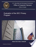 Evaluation of the SEC Privacy Program [electronic Resource].