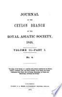 The Journal of the Ceylon Branch of the Royal Asiatic Society of Great Britain & Ireland