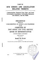 1970 Census and Legislation Related Thereto