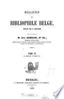 BULLETIN DU BIBLIOPHILE BELGE,