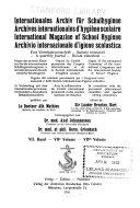 Archives internationales d hygi  ne scolaire