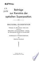 Beiträge zur Kenntnis der optischen Superposition