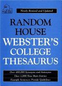 Random House Webster s College Thesaurus Book