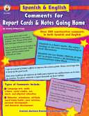 Spanish   English Comments for Report Cards   Notes Going Home  Grades K   5