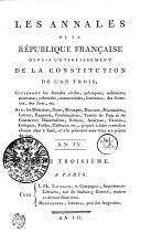 Les Annales De La République Française Depuis L'établissement De La Constitution De L'An Trois
