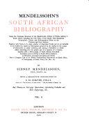 Mendelssohn S South African Bibliography