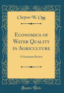 Economics Of Water Quality In Agriculture