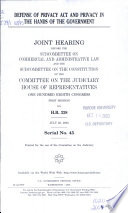 Defense of Privacy Act and Privacy in the Hands of the Government