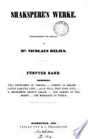 Shakspere's Werke, herausg. und erklärt von N. Delius. [With] Nachträge und Berichtigungen