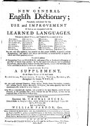 A new general English dictionary     Originally begun by the late Reverend Mr  Thomas Dyche     And now finish d by William Pardon  Gent  The fourth edition  etc