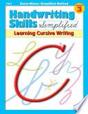 Handwriting Skills Zaner Bloser Simplified Method     Learning Cursive Writing