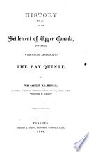 History of the Settlement of Upper Canada  Ontario