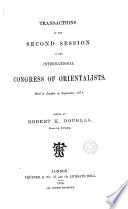 Transactions of the Second Session of the International Congress of Orientalists