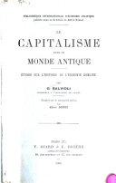Le capitalisme dans le monde antique