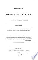 Goethe S Theory Of Colours Tr With Notes By C L Eastlake