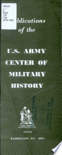 Publications of the U S  Army Center of Military History
