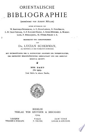 Free Download Orientalische Bibliographie PDF - Writers Club