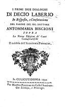 Pdf I primi due dialoghi di D. L. in risposta ... del parere del Sig. ... A. Biscioni sopra la nuova edizione de' Canti Carnascialeschi, etc