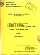 Report of Financial Interests Disclosed by State Constitutional Officers  Members of the Senate  Members of the Assembly