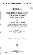 Selective Immigration Legislation