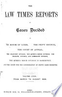 The Law Times Reports of Cases Decided in the House of Lords  the Privy Council  the Court of Appeal      new Series