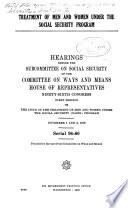 Treatment of Men and Women Under the Social Security Program Book