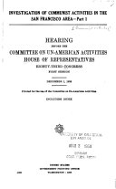 Communist Activities Hearings Before the Committee on Un-American Activities, House of Representatives, Eighty-third Congress, First- Second Session S