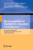 Machine Learning and Metaheuristics Algorithms  and Applications