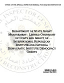 Pdf Dept. of State Grant Mgmt.: Limited Oversight of Costs and Impact of Internat. Republican Inst. and Nat. Democratic Inst. Democracy Grants for Democracy-Building Activities in Iraq