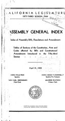 General Index To Assembly Bills Constitutional Amendments Concurrent Joint And House Resolutions