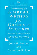 Commentary for Academic Writing for Graduate Students Book