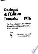 Le Catalogue de l'édition française