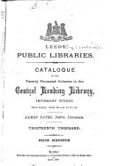Catalogue of the Twenty Thousand Volumes in the Central Lending Library