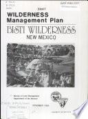 Wilderness management plan for the Bisti Wilderness Area