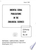 Oriental Serial Publications in the Zoological Sciences Book