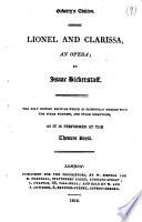Lionel and Clarissa, an opera. Oxberry's ed Pdf/ePub eBook