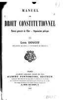 Manuel de droit constitutionnel