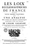 Les loix ecclésiastiques dans leur ordre naturel... par Me Louis de Héricourt