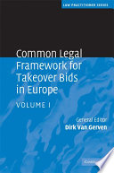 Common Legal Framework for Takeover Bids in Europe  Book