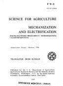 Science for Agriculture  Mechanization and Electrification