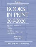 Books in Print   7 Volume Set  2019 20  0