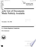 Title List of Documents Made Publicly Available